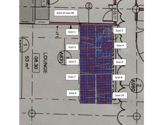 Reinforcement layouts using multiple 2D scans